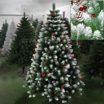 თოვლიანი ნაძვის ხე გირჩით და კენკრით გაფორმებული 210 სმ