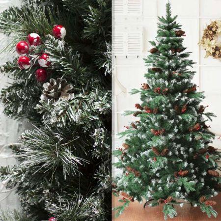 საახალწლო ნაძვის ხე, დათოვლილი, გირჩებით და წითელი ბურთულებით 120 სმ